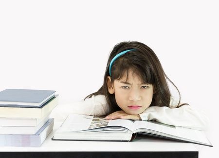 get tired: Girls get tired of studying on white background