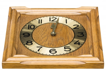 Old antique wall clock is handmade woodcraft on white photo