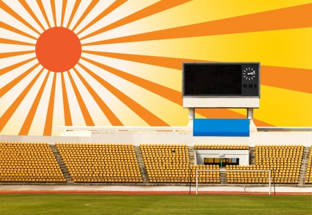 Rows of orange seats on the stadium with scoreboard displaying clock above them and sun ray