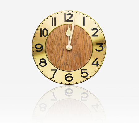 Face old wall clock on white background photo