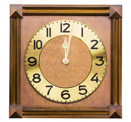 woodcraft: Old antique wall clock is handmade woodcraft on white