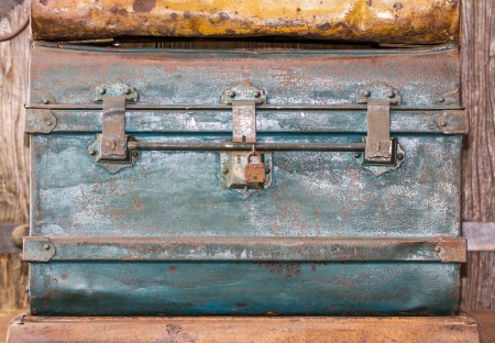 treasure trove: Detail of the lock of an old metal  treasure chest