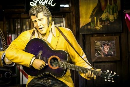 Elvis Presley model zingen in pub