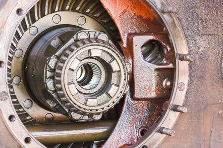 Close-up Inside of gearbox with ball bearings photo
