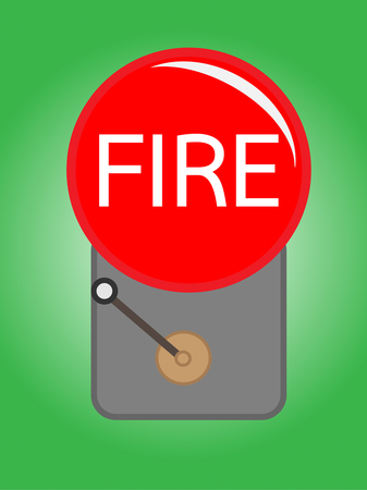 An Illustration of a red alarm bell on green background Vector