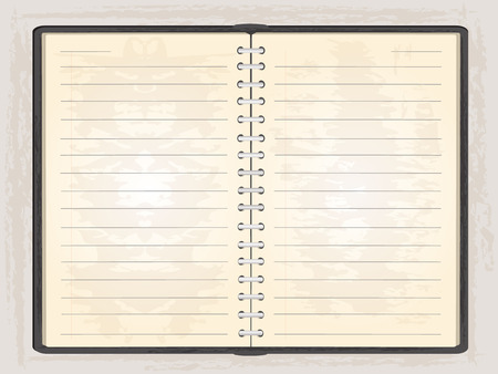 grundge: Blank note book open to show two blank pages,gr background.