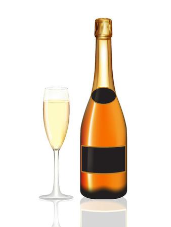 champagne orange: Champagne orange bottle and champagne glass on white background. Vector illustration