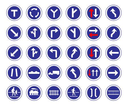 Vector illustration de forme de cercle les panneaux de signalisation bleu collection