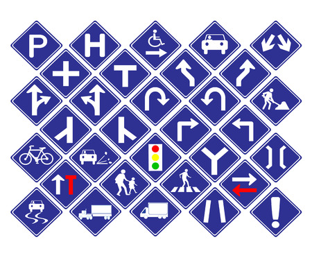 diamond shape: Vector illustration of Diamond shape blue road signs collection