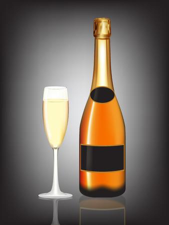 champagne orange: Champagne orange bottle and champagne glass on black background. Illustration