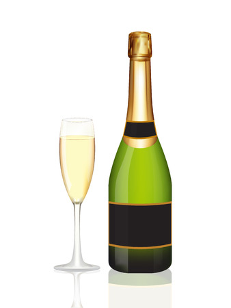 Champagne fles en glas champagne op een witte achtergrond.