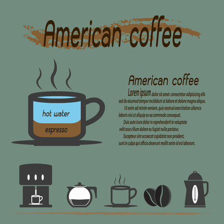 Coffee types, American Coffee and their preparation Infographic,Vector illustration. Vector