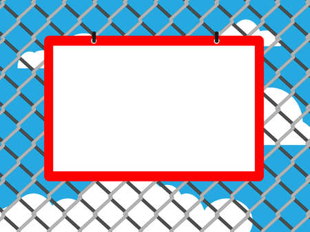 link fence: Blank board on chain link fence with copy space on blue sky background Illustration