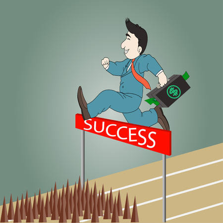 Businessman jumping over hurdle on a running track on the way to success with briefcase Vector