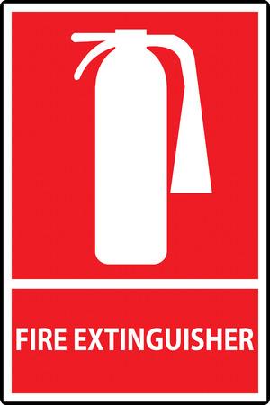fire extinguisher sign: Extintor signo aislado en rojo. Ilustraci�n vectorial Vectores