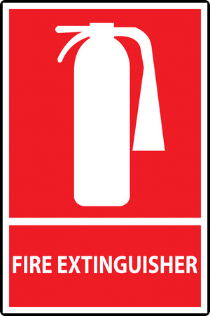 Fire extinguisher sign isolated on red. Vector Illustration