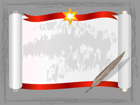 Blank scroll paper with red ribbon and Quill pen ,Vector illustration Stock Illustratie
