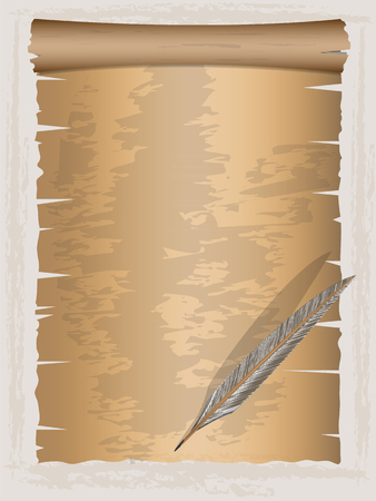 quill pen: Vintage paper and Quill pen ,Vector illustration