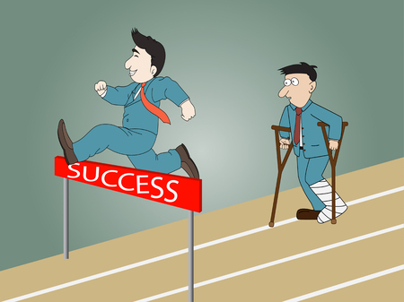 financial obstacle: A man jumping over hurdle on a running track on the way to success and man standing injured . Illustration