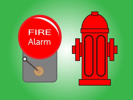 evacuation equipment: Alarm bell and Fire hydrant  vector illustration .Red fire hydrant and Alarm bell  isolated on green background Illustration