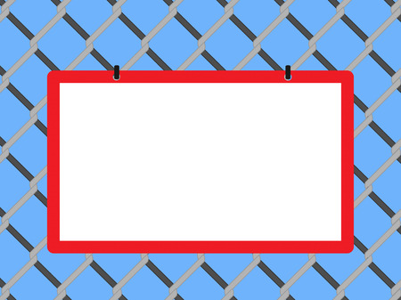 link fence: Blank board on chain link fence with copy space on blue background