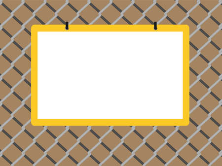 link fence: Blank board on chain link fence with copy space on brown background Illustration