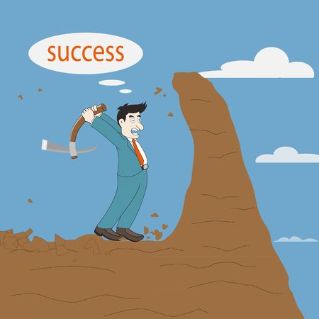 Concept, Businessman digging mountain for inspiration. For success Vector