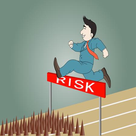 running track: Zakenman springen over hindernis op een atletiekbaan op de weg naar riskeren Stock Illustratie