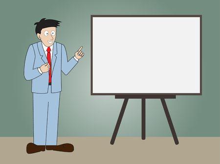 Businessman presentation on whiteboard in  auditorium,Vector illustration Vector