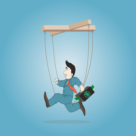 persuasion: Concept business,Businessman puppet  with briefcase on a string,Vector illustration