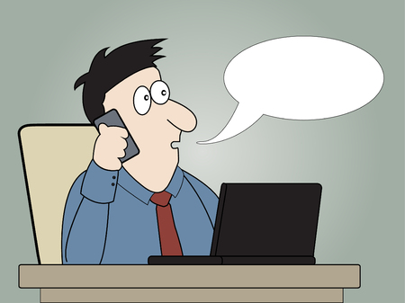 phonecall: Businessman talking on mobile phone in office.Vector illumination.