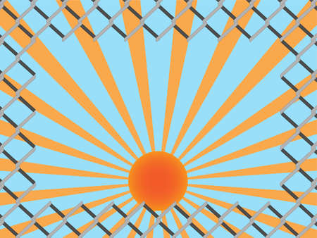 link fence: Cut wire on chain link fence with copy space on vintage sun rays background Illustration