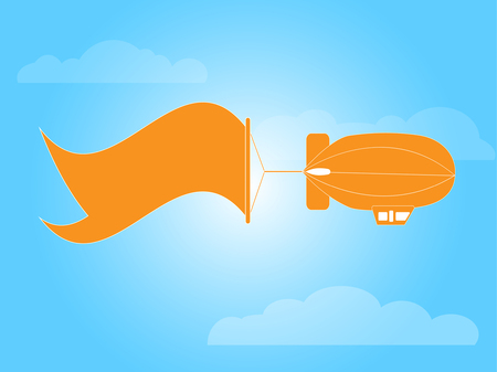Dirigible banner with blank sky banner  Vector