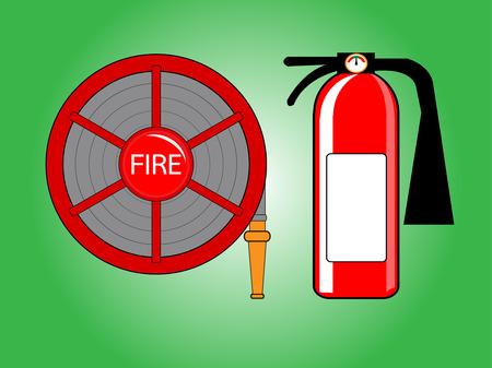 Fire hose reel and extinguishing vector illustration  on green background Illustration