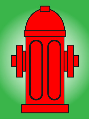 Fire hydrant vector illustration .Red fire hydrant isolated on green background Vector