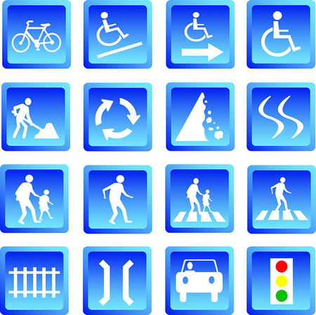 Vector illustration of button blue road signs