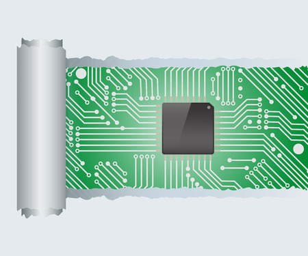 deterioration: Torn Paper with electronic circuit board with processor ,Vector illustration