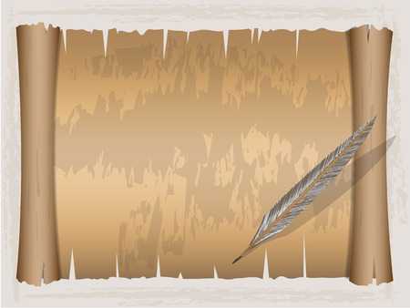 parchment scroll: Vintage scroll paper and Quill pen ,Vector illustration