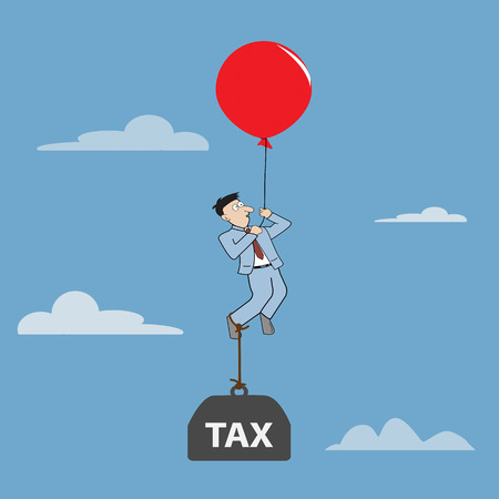 Cartoon Businessman flying away by using red balloon with burden tax. Vector illustration Illustration