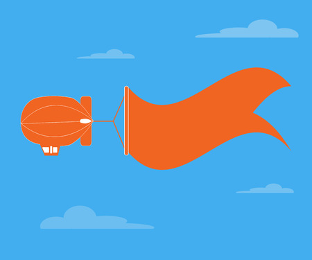 dirigible: Dirigible flying and banner for text over  blue sky  Illustration