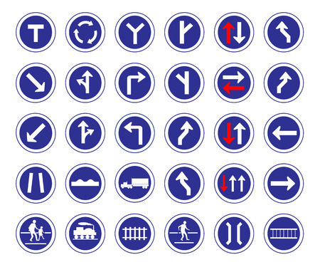 Vector illustration of circle shape blue road signs collection Vector