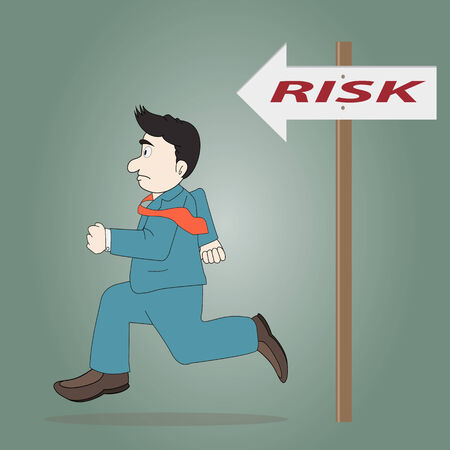 Businessman running with a briefcase  toward risk sign Vector