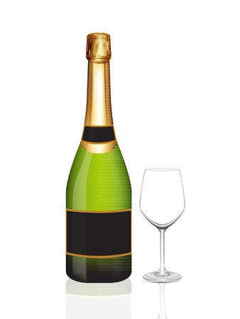Champagne green bottle and champagne glass on white background. Vector illustration Vector