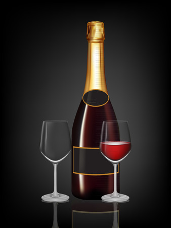 Champagne red bottle and two champagne glass on black background. Vector illustration Vector
