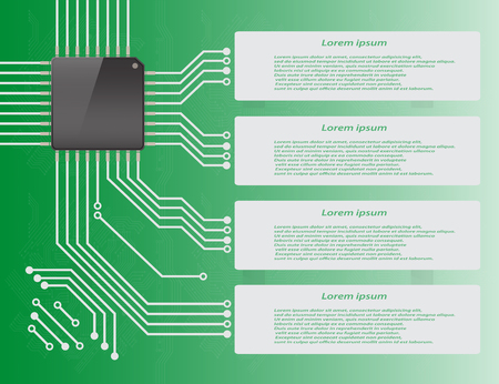 micro chip: Electronics circuit board purple background with micro chip Infographics , Vector illustraion Illustration