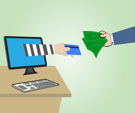 Business concept, Hand Thief through the Internet from computer and Hand hold money ,Vector illustration Vector