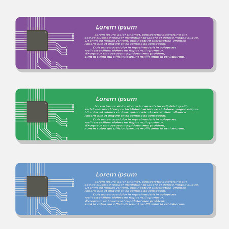 micro chip: Electronics circuit with micro chip Infographics , Vector illustraion