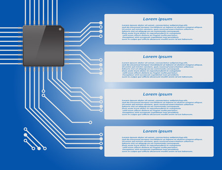 Electronics circuit board blue background with micro chip Infographics , Vector illustraion