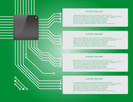 micro chip: Electronics circuit board green background with micro chip Infographics , Vector illustraion