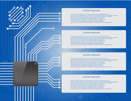 micro chip: Electronics circuit board blue background with micro chip Infographics , Vector illustraion